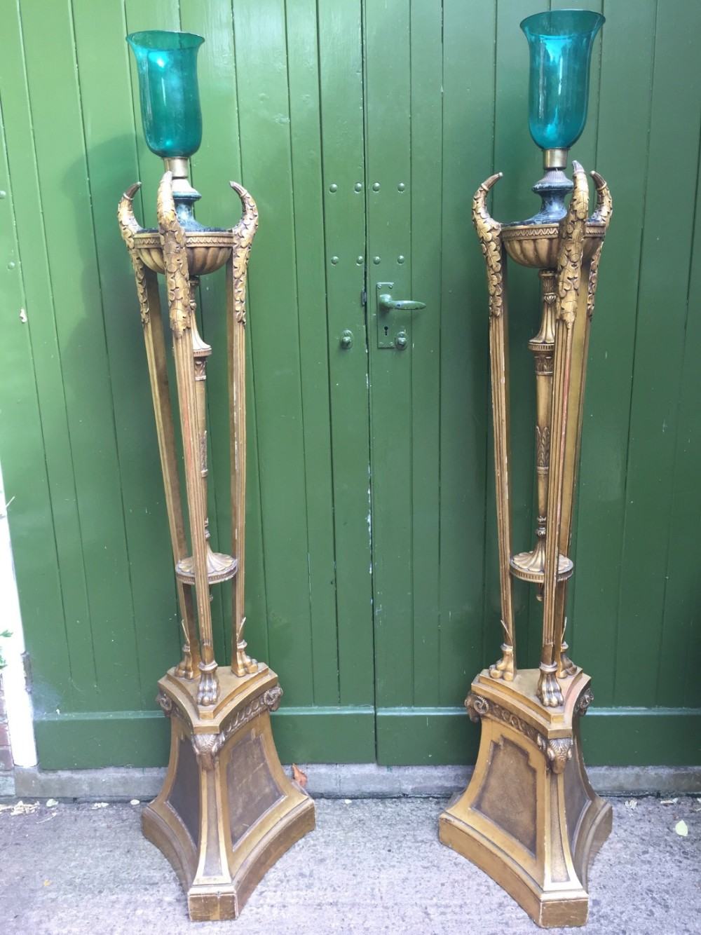 impressive pair of early c20th giltwood floorstanding candlelamps or torcheres in the c18th neoclassical style