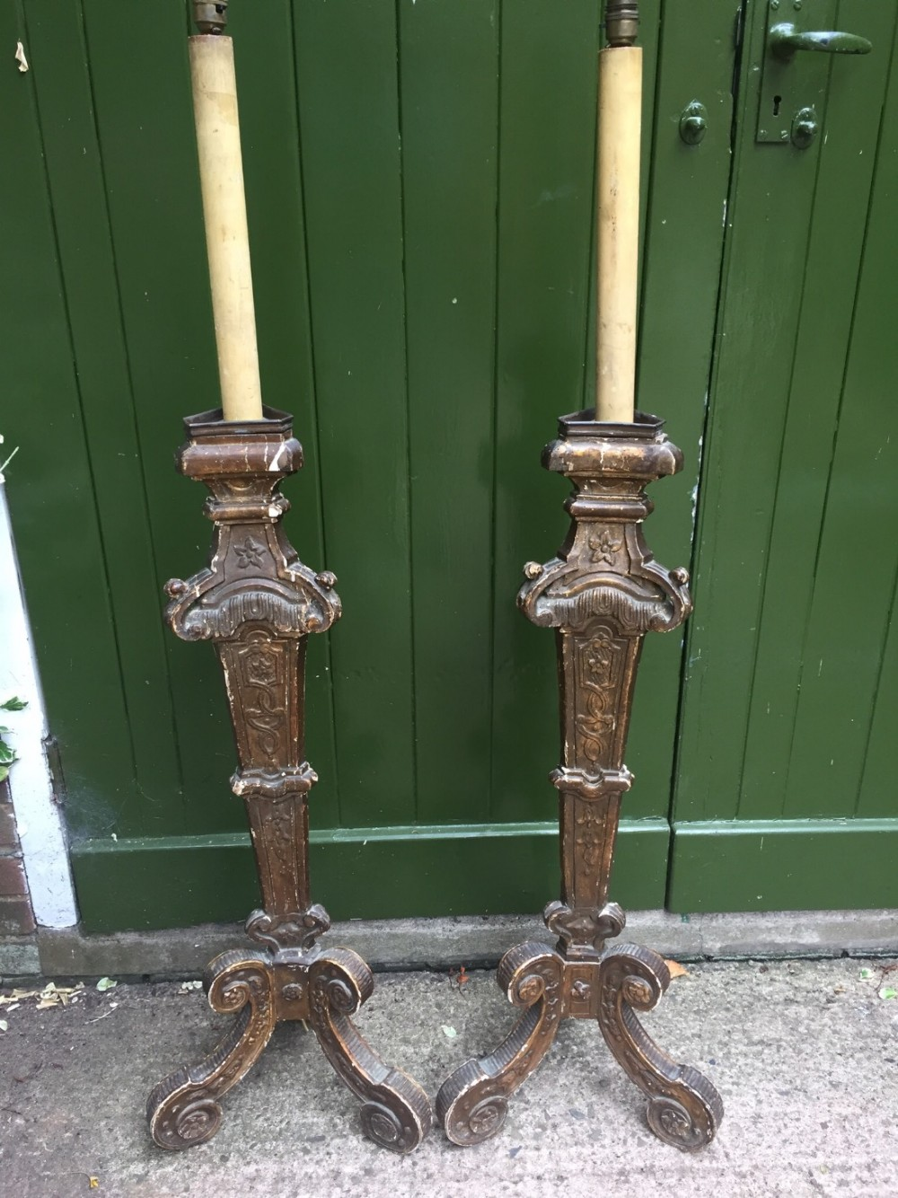 pair of c18th italian giltwood altar type candlestick lamps