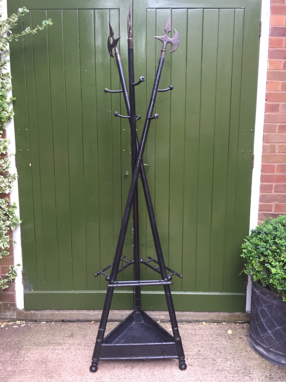 unusual and decorative late c19th french ebonised hat coat and stickstand formed as 3 crossed halberds or pikes