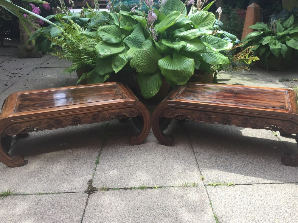 scarce matching pair of late c19th chinese qing dynasty carved hardwood low 'kang' or opium style tables