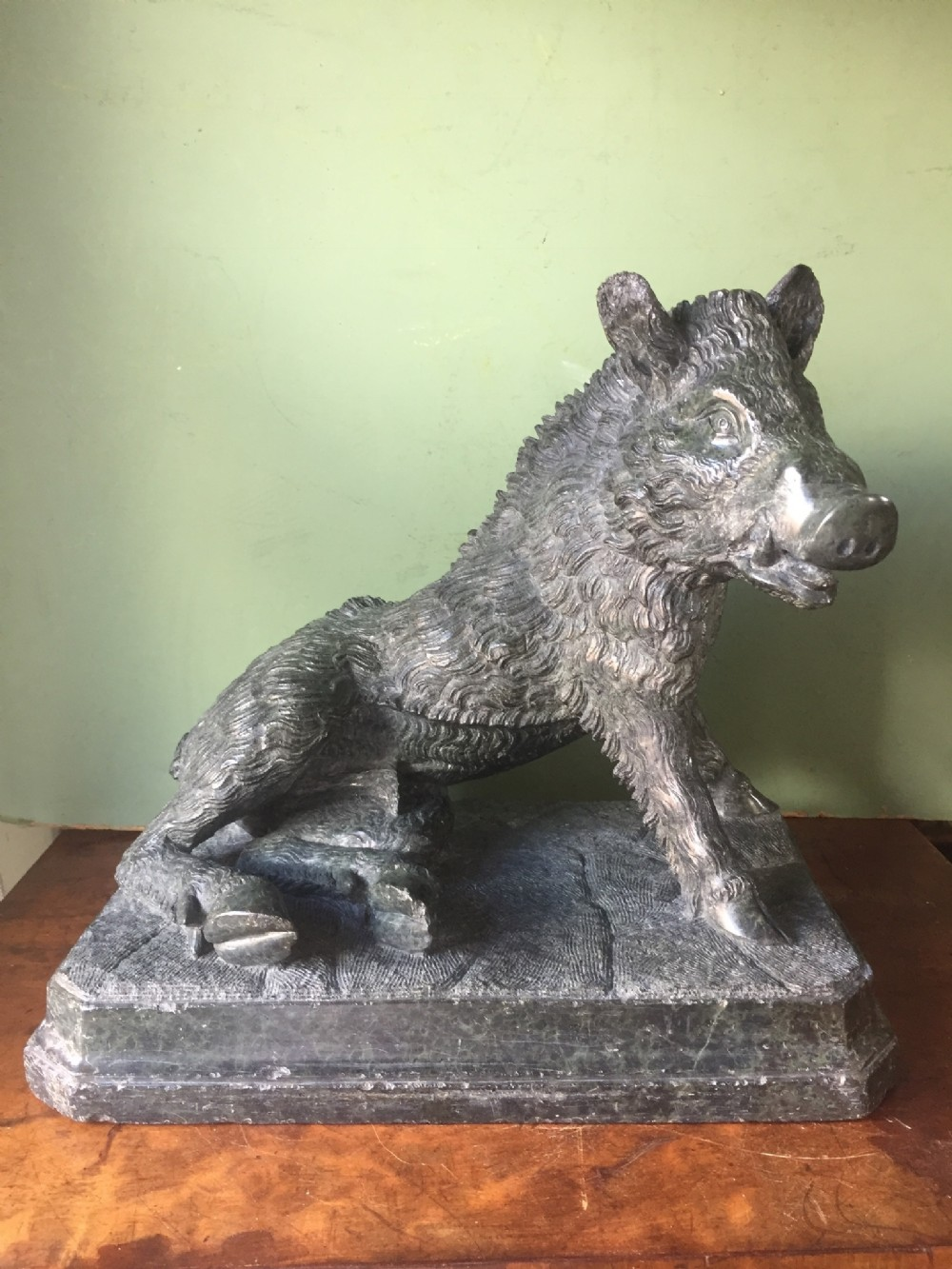 late c19th italian carved 'grand tour' souvenir carved serpentine marble study of il porcellino' or the ufizzi boar