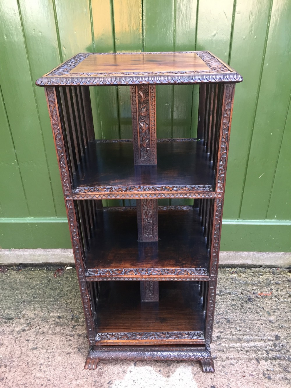 late c19th angloindian carved padouk revolving bookcase