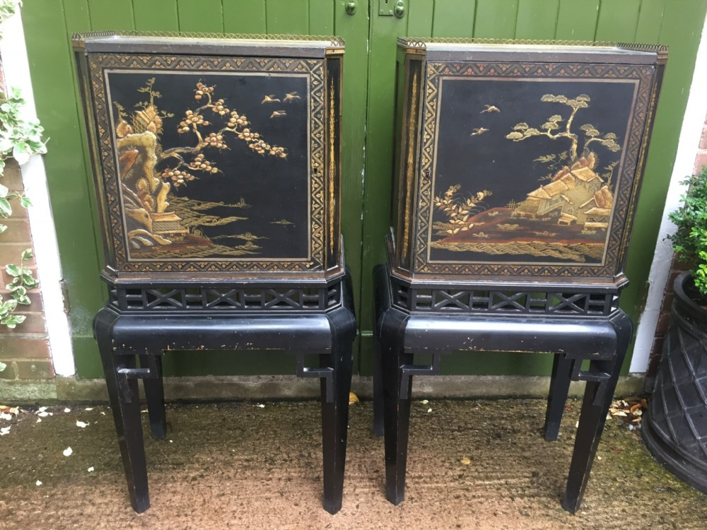 fine and decorative pair of c19th chinoiserie lacquer cabinetsonstands