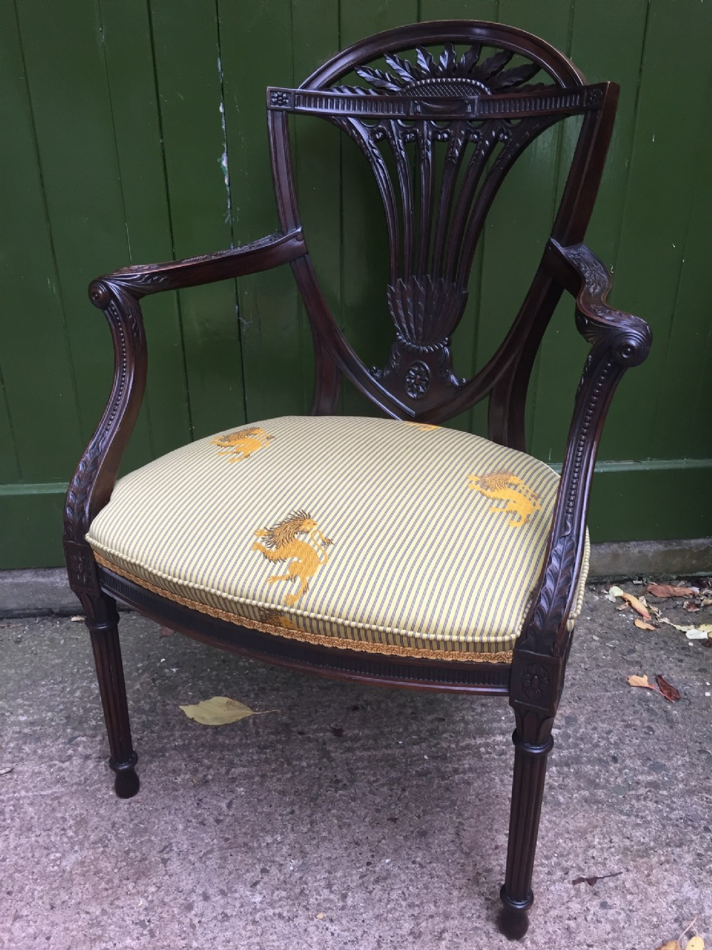 superb quality late c19th carved mahogany framed armchair in the adam revival style