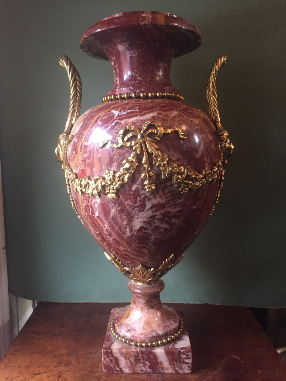 stunning late c19thearly c20th french ormolumounted rouge marble vase of impressive scale