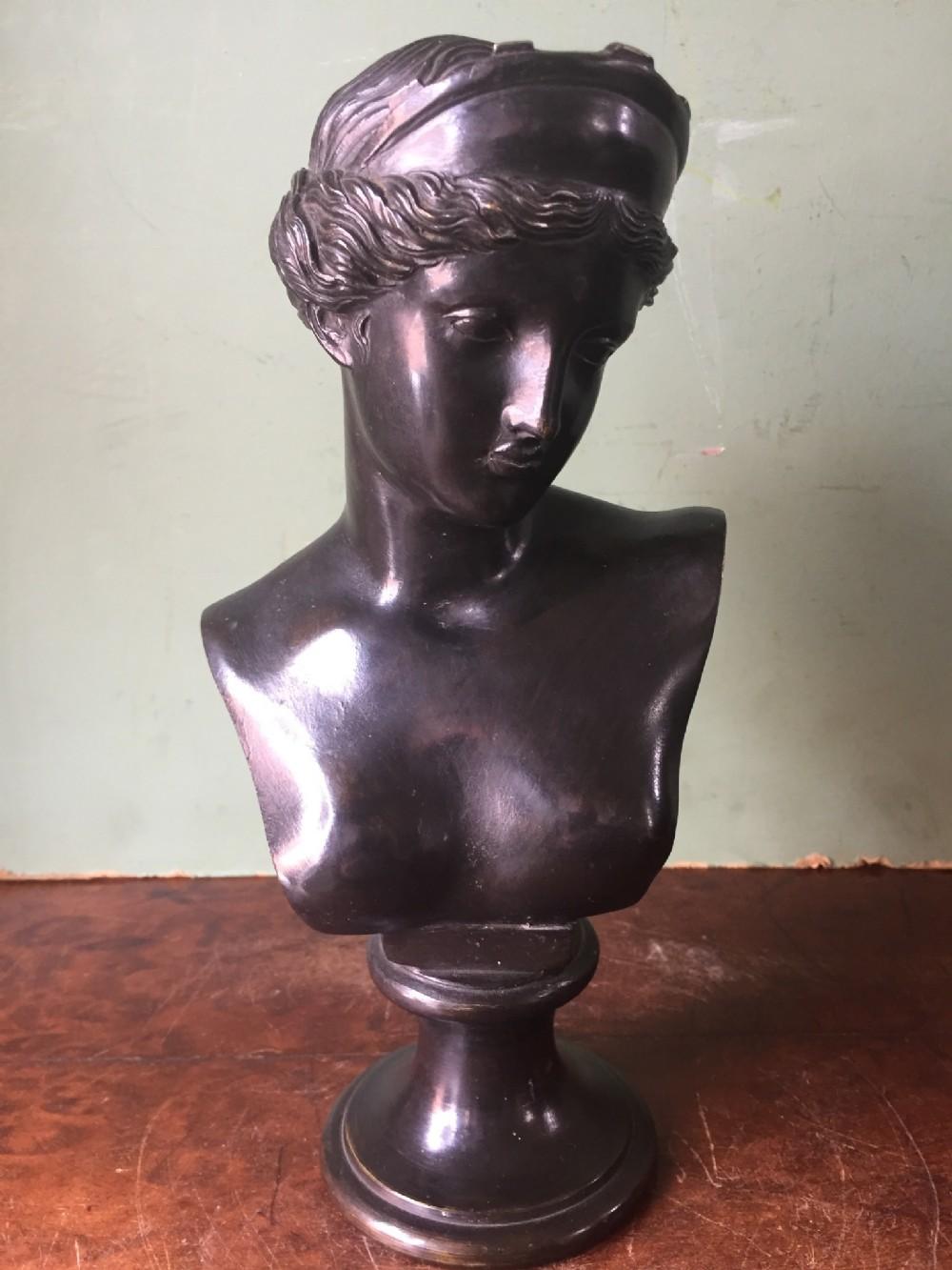 c19th italian bronze desktop bust study of venus of capua