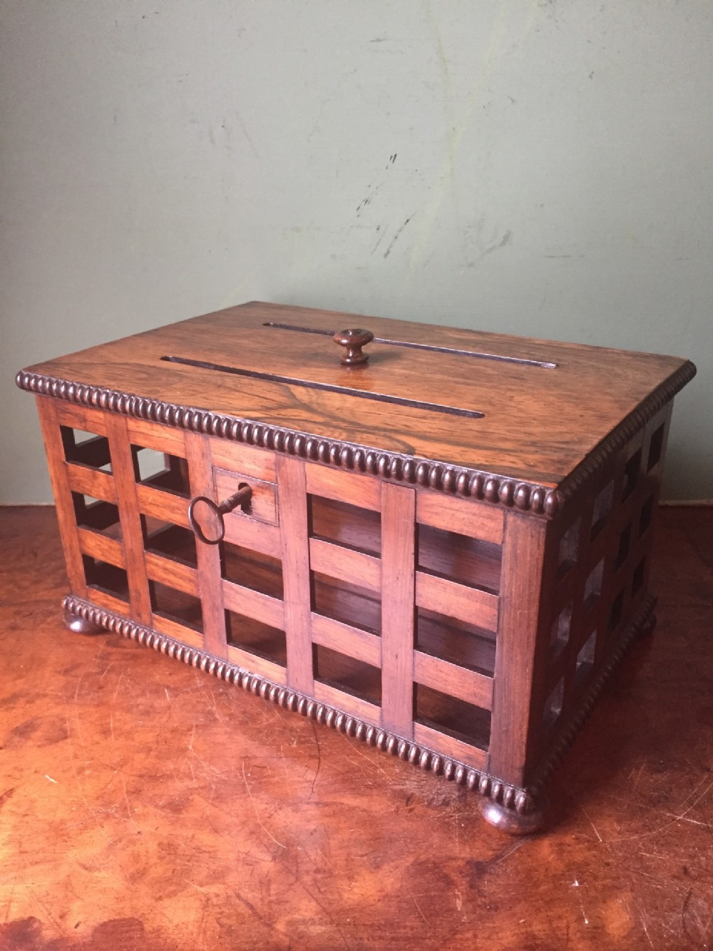 fine quality early c19th regency period rosewood correspondence or letterbox desktop casket