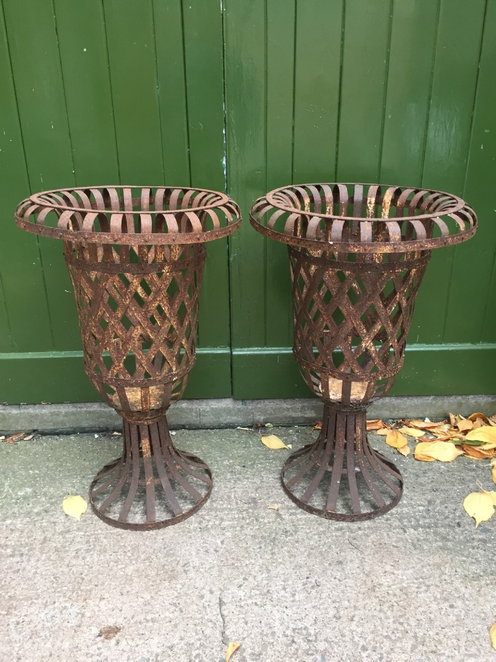 decorative pair of early c20th french strapiron open latticework garden vases of campana form