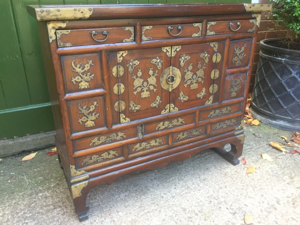 late c19th korean brassbound elm cabinet or 'tansu' of low proportions