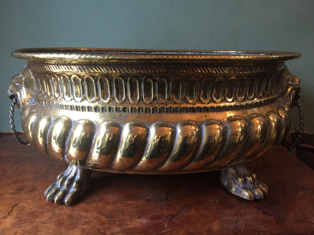 c18th dutch or flemish oval brass jardiniere or wine cooler