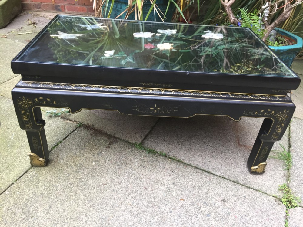 Early C20th Chinese Lacquer Coffee Or Reception Room Table With Decorated Carved 39 Soapstone