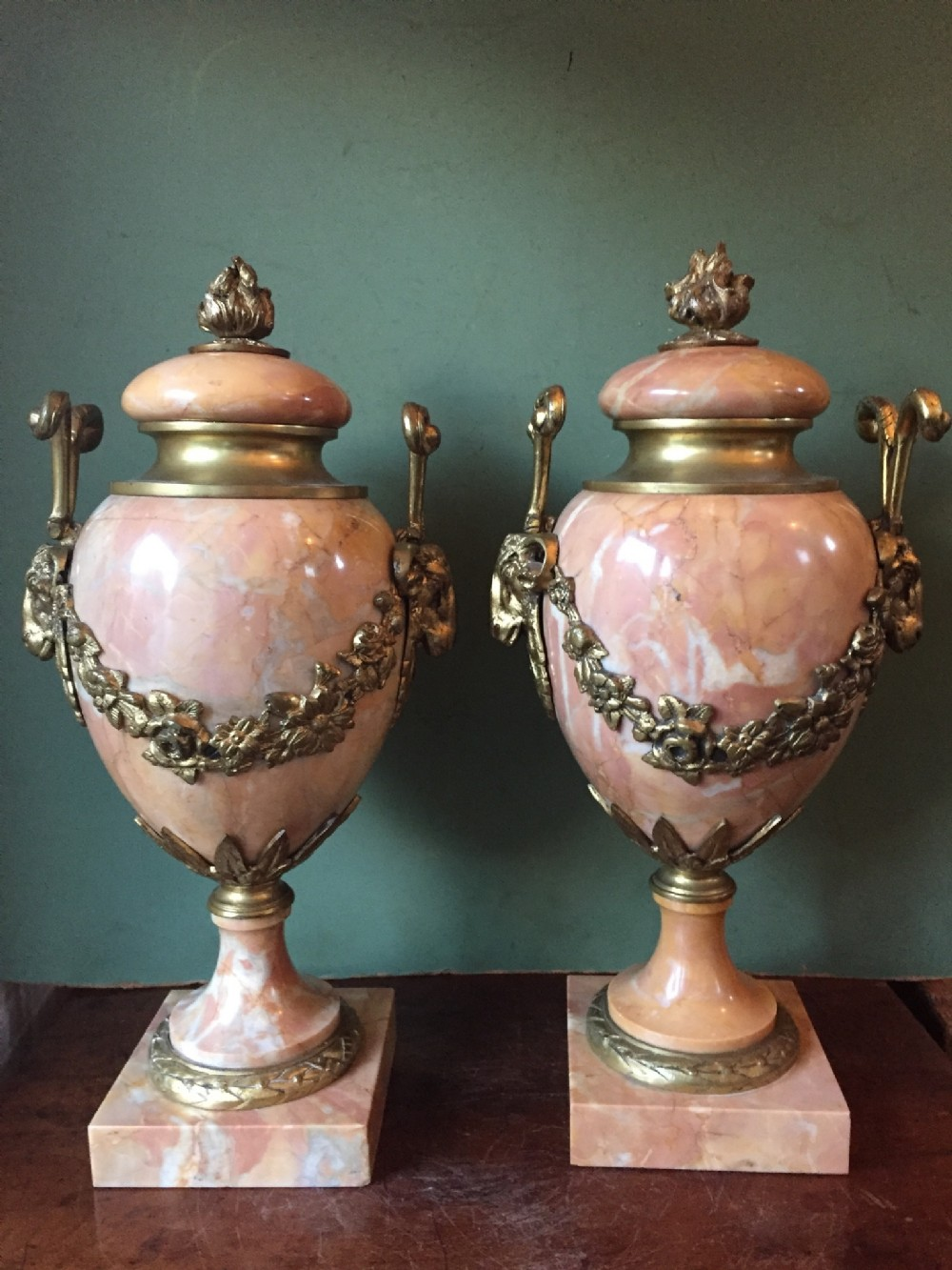 pair of early c20th french louis xvi style ormolumounted marble urns