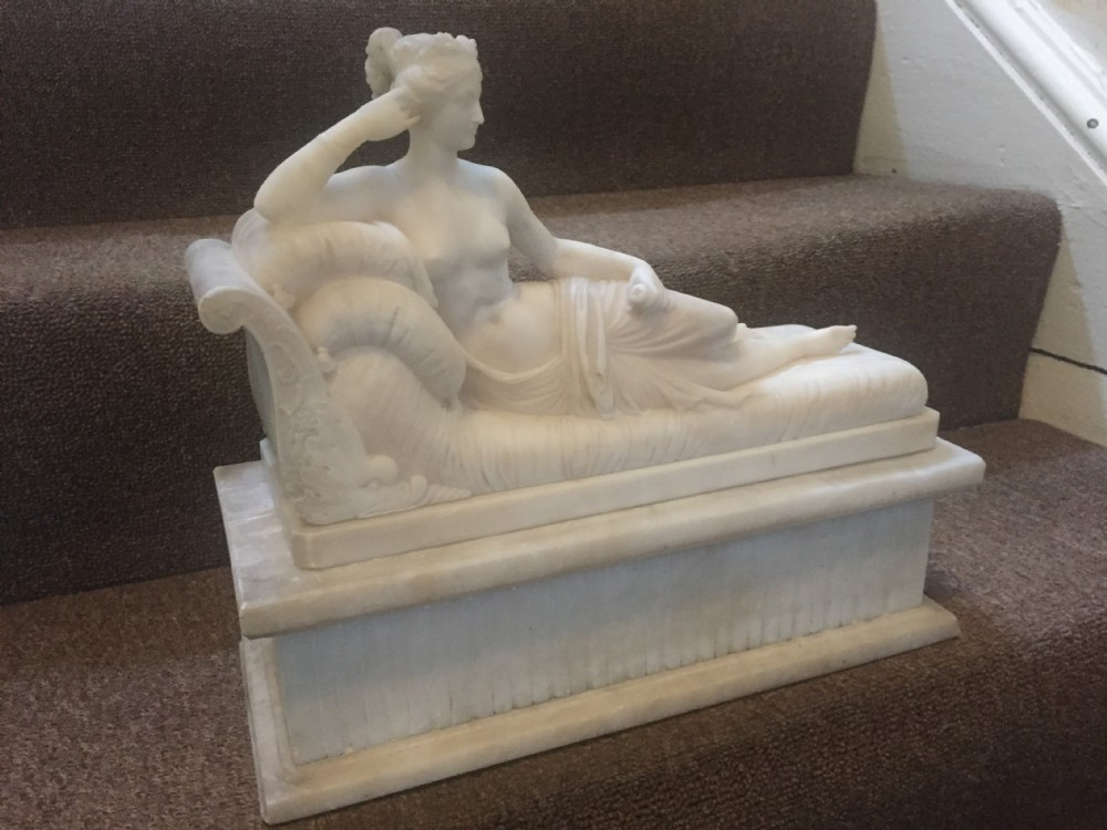 fine and decorative group comprising of a c19th alabaster sculpture after antonio canova venus victrix together with a pair of framed engravings