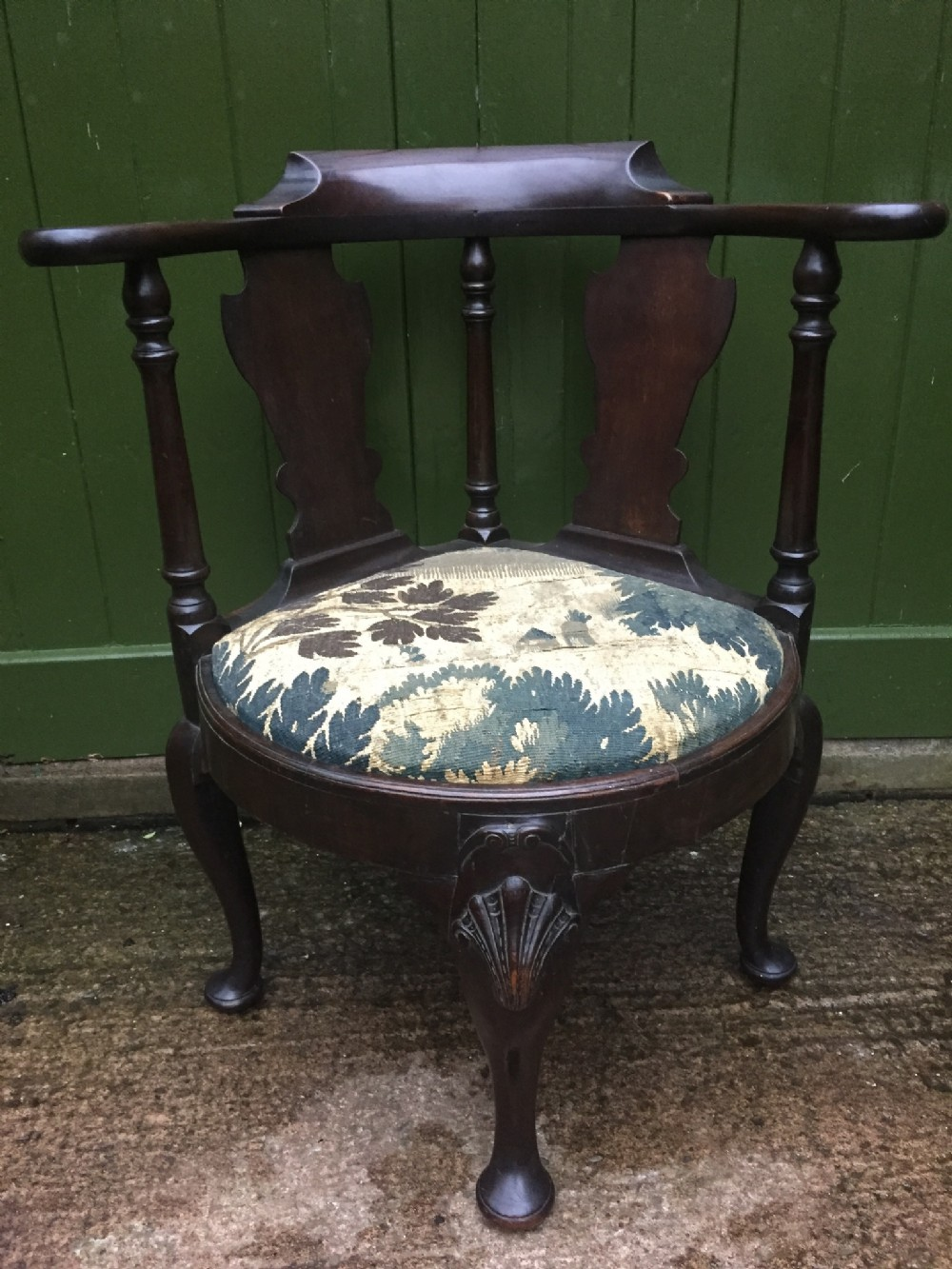 mid c18th george ii period mahogany corner or reading armchair