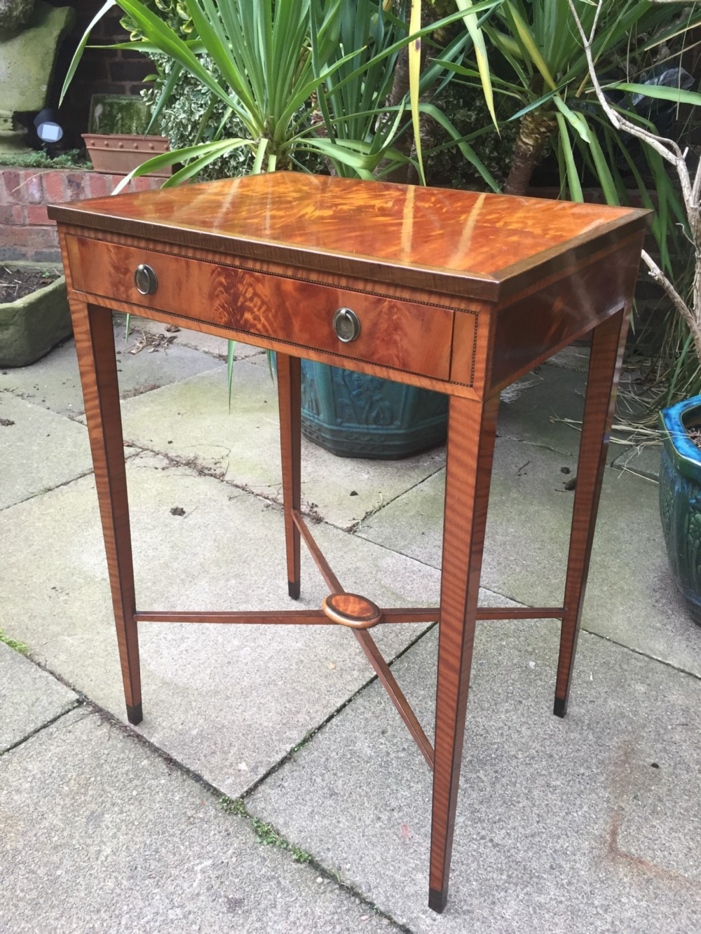 fine quality late c19th satinwood side table in the late georgian period style