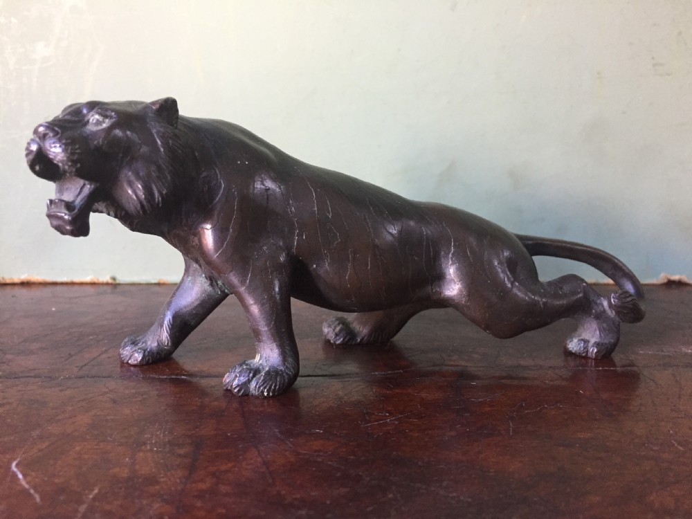 late c19th meiji period japanese bronze model of a tiger