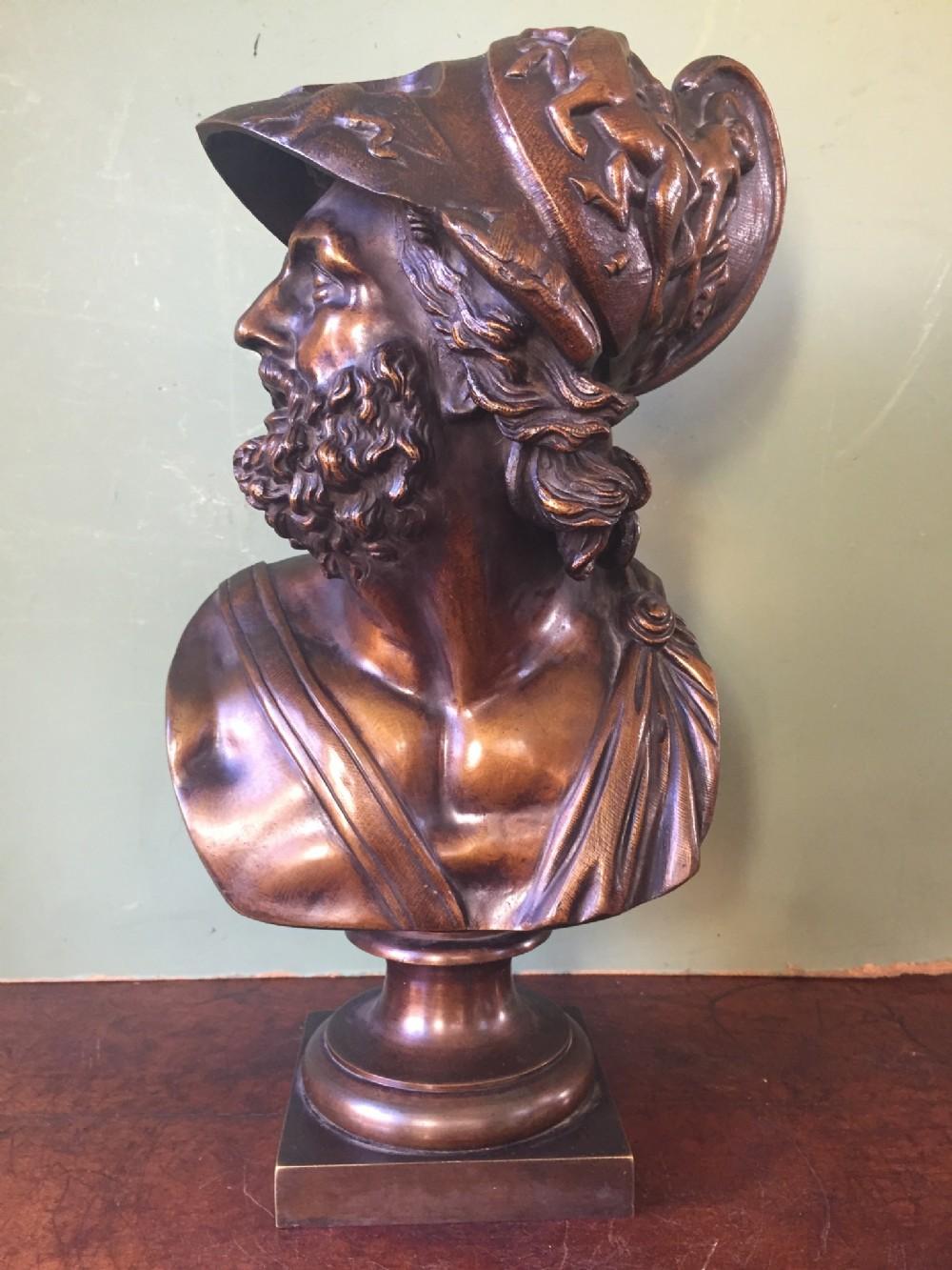late c19th 'grand tour' souvenir bronze bust study of the mythological greek hero ajax