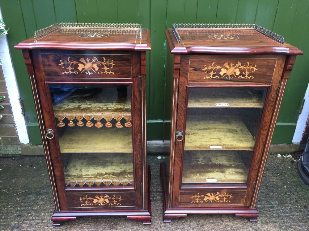 Matching Pair Of High Quality Edwardian Period Inlaid Figured Rosewood Music  Cabinets.   535116   Www.leesantiquesworcester.com