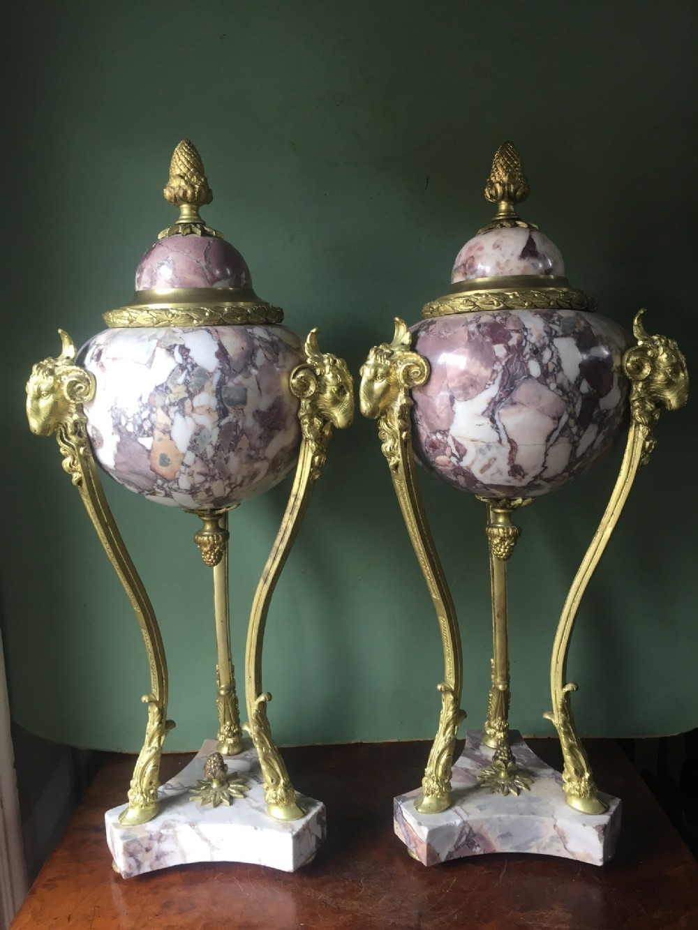large pair of late c19th early c20th french marble 'breche violette' ormolumounted vases in the c18th neoclassical style