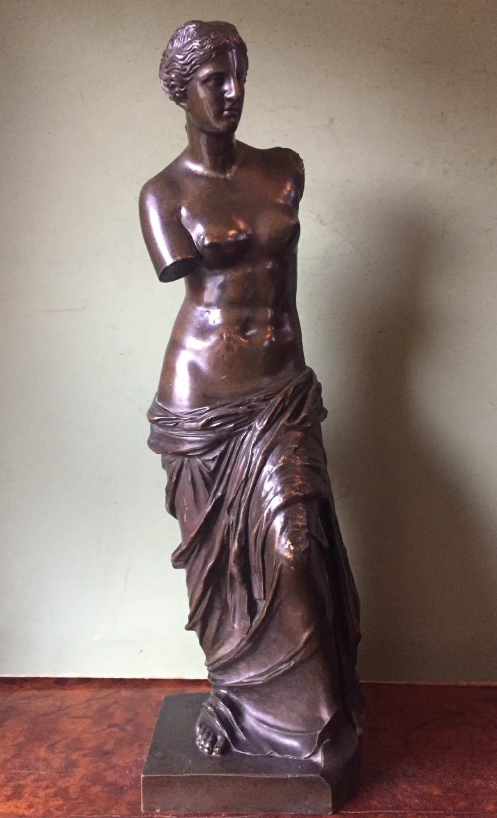 late c19th french or italian 'grand tour' souvenir bronze reduction of the 'venus di milo'