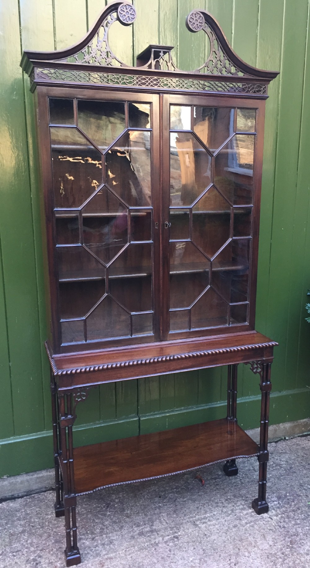 late c19th chippendale revival mahogany astragal glazed cabinetonstand
