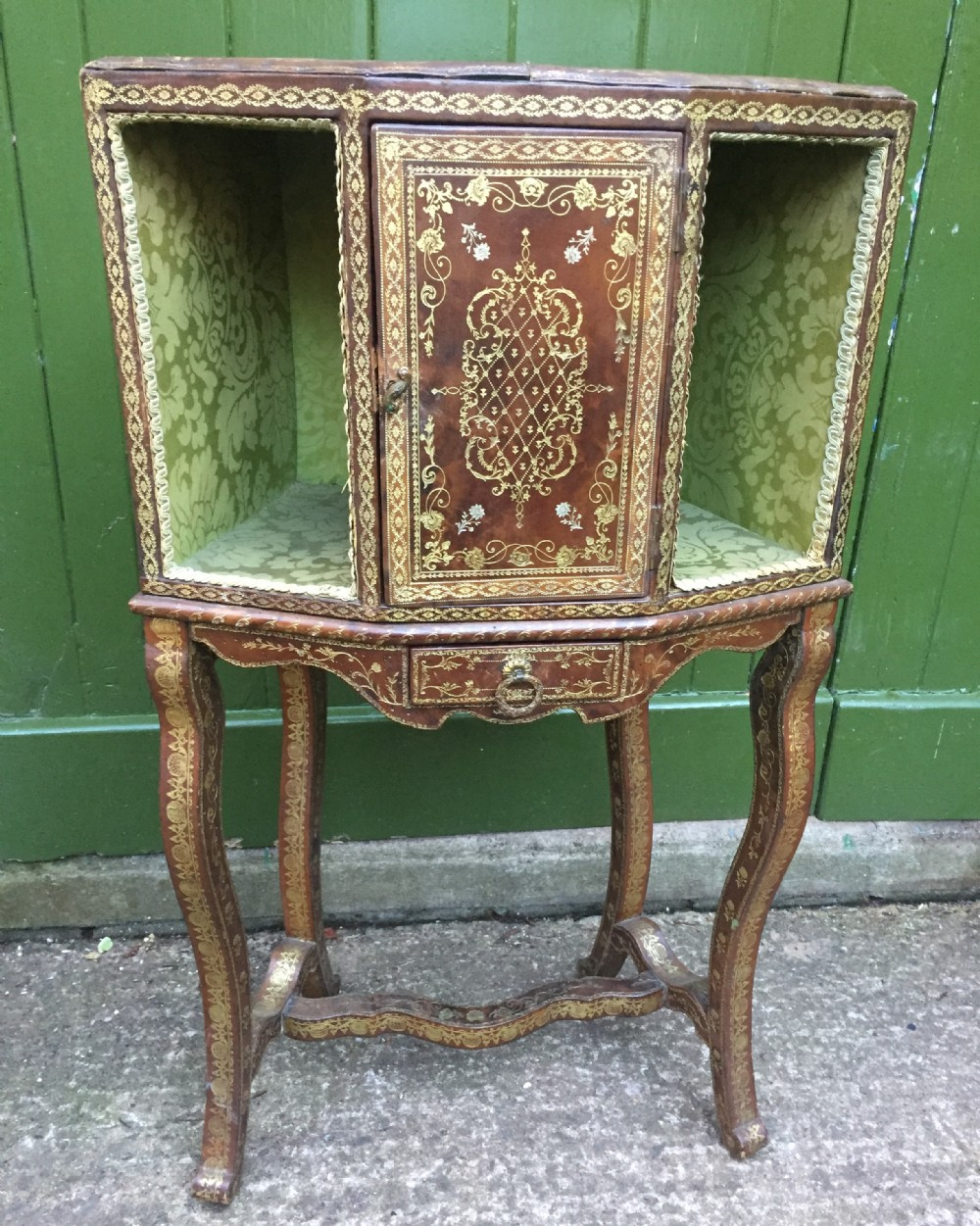 interesting early c20th french tooled leatherbound booktable with inset silkwork top