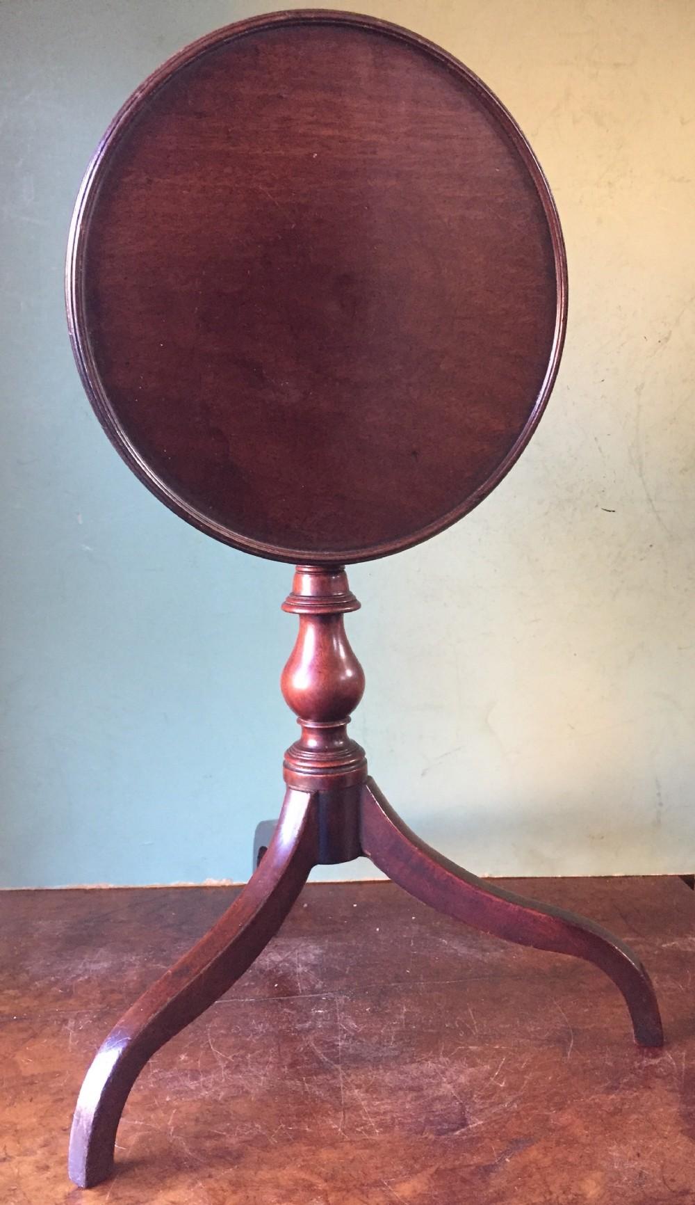 fine late c18th george iii period miniature mahogany tripodbase dishtop table