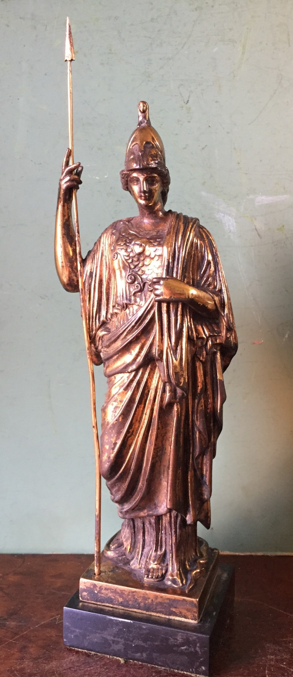 c19th gilded bronze classical 'grand tour' souvenir after the antique of athena