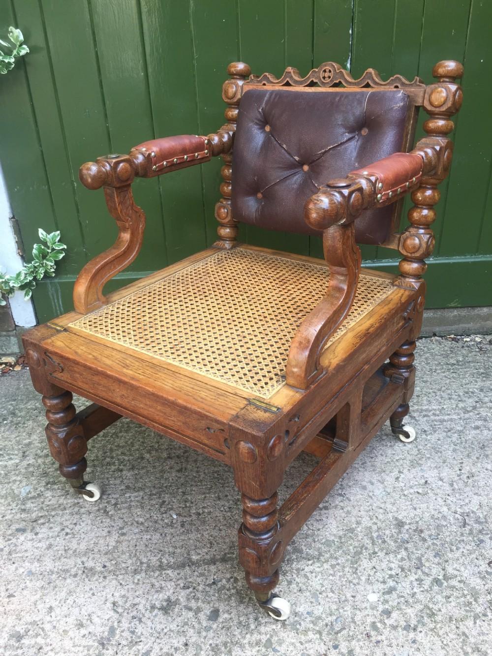early c19th 'metamorphic' oak library armchair steps in the manner of richard hicks bridgens