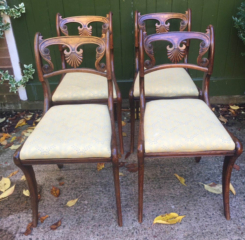 set of 4 early c19th regency period 'greek revival ' dining or side chairs in original simulatedfaux rosewood finish