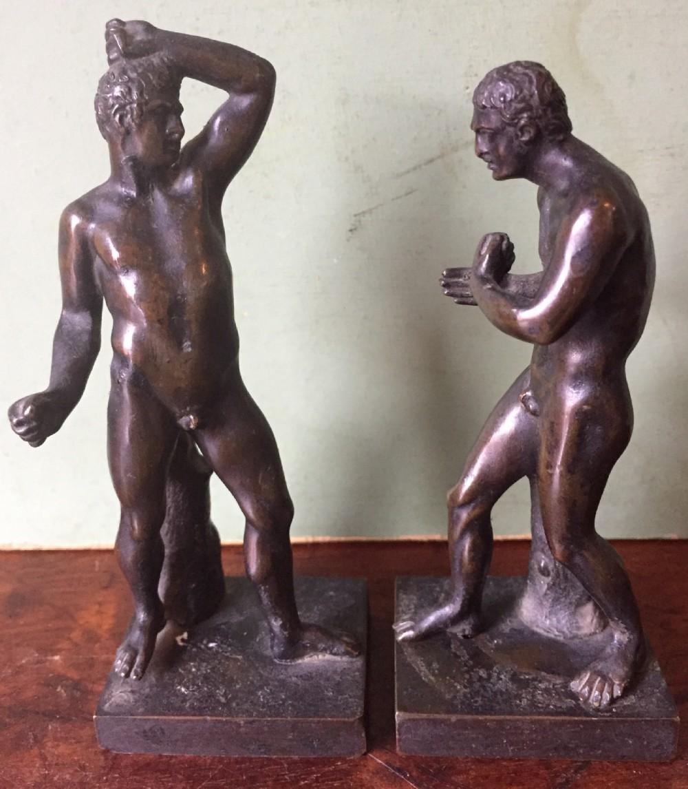 pair of c19th 'grand tour' souvenir miniature bronze figures of creugas damoxenos after canova
