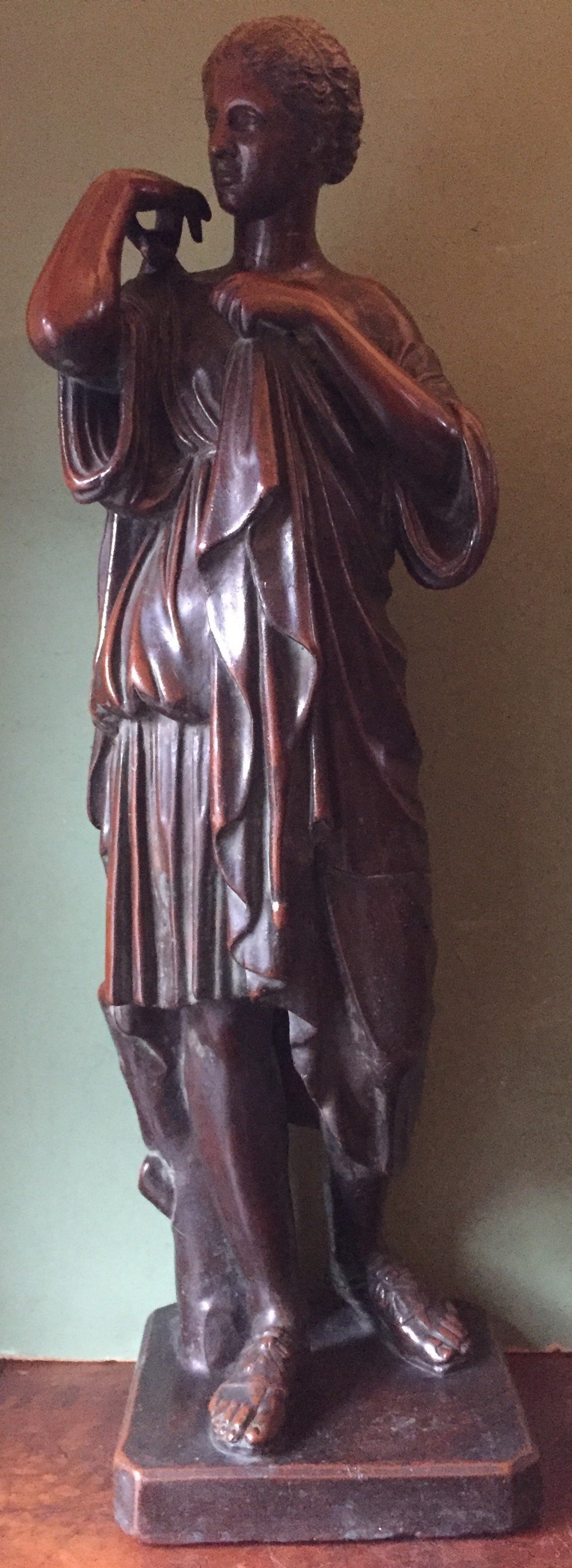 interesting and decorative classical c19th bronzed electrotype copperclad study after the antique of diane de gabies