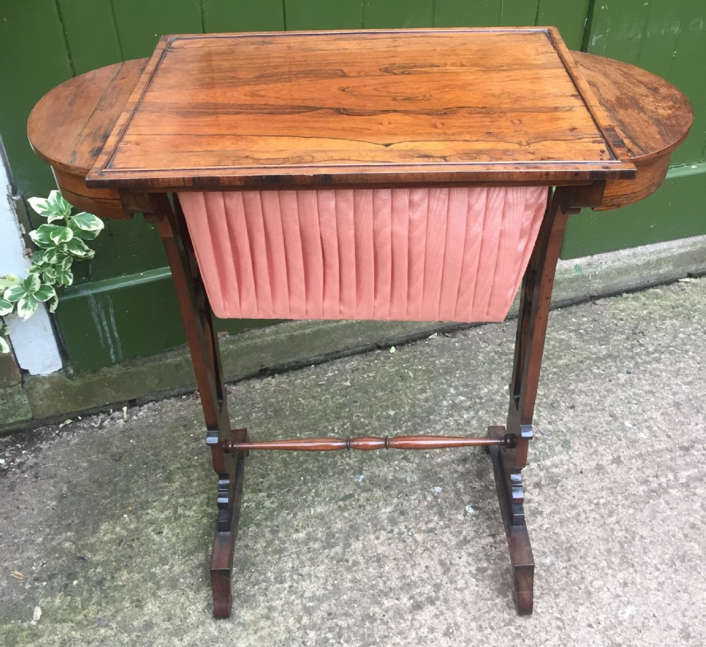 elegant early c19th george iv period rosewood sewing or work table of gillows design