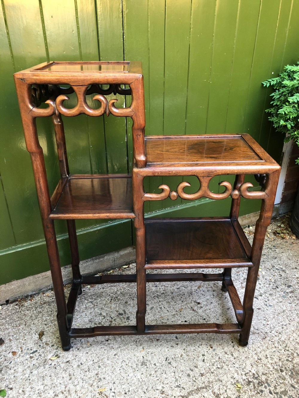 late c19th chinese qing dynasty carved hardwood display stand of asymmetrical design