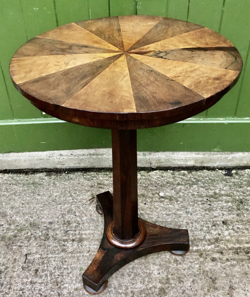 early c19th george iv period rosewood occasional table with segmented rosewood and burr maple top