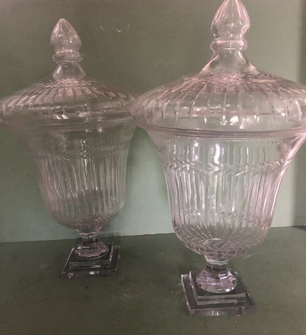 impressive largescale pair of early c19th regency period cutglass and etched bon bon jars and covers