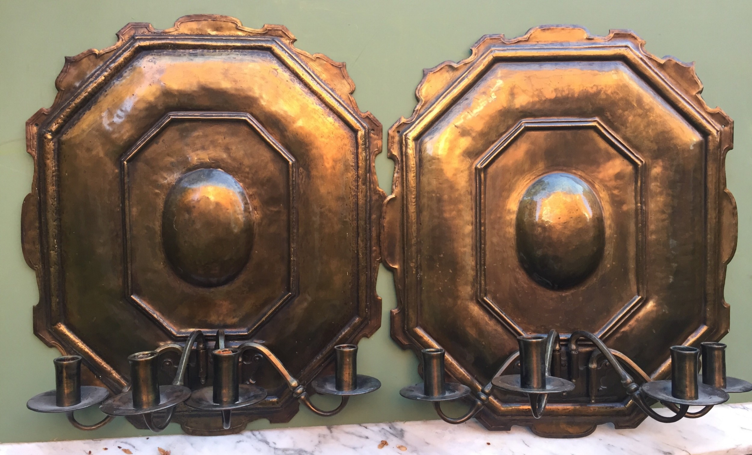 pair of late c19th early c20th brass 4branch candle walllights in the the late c17th style