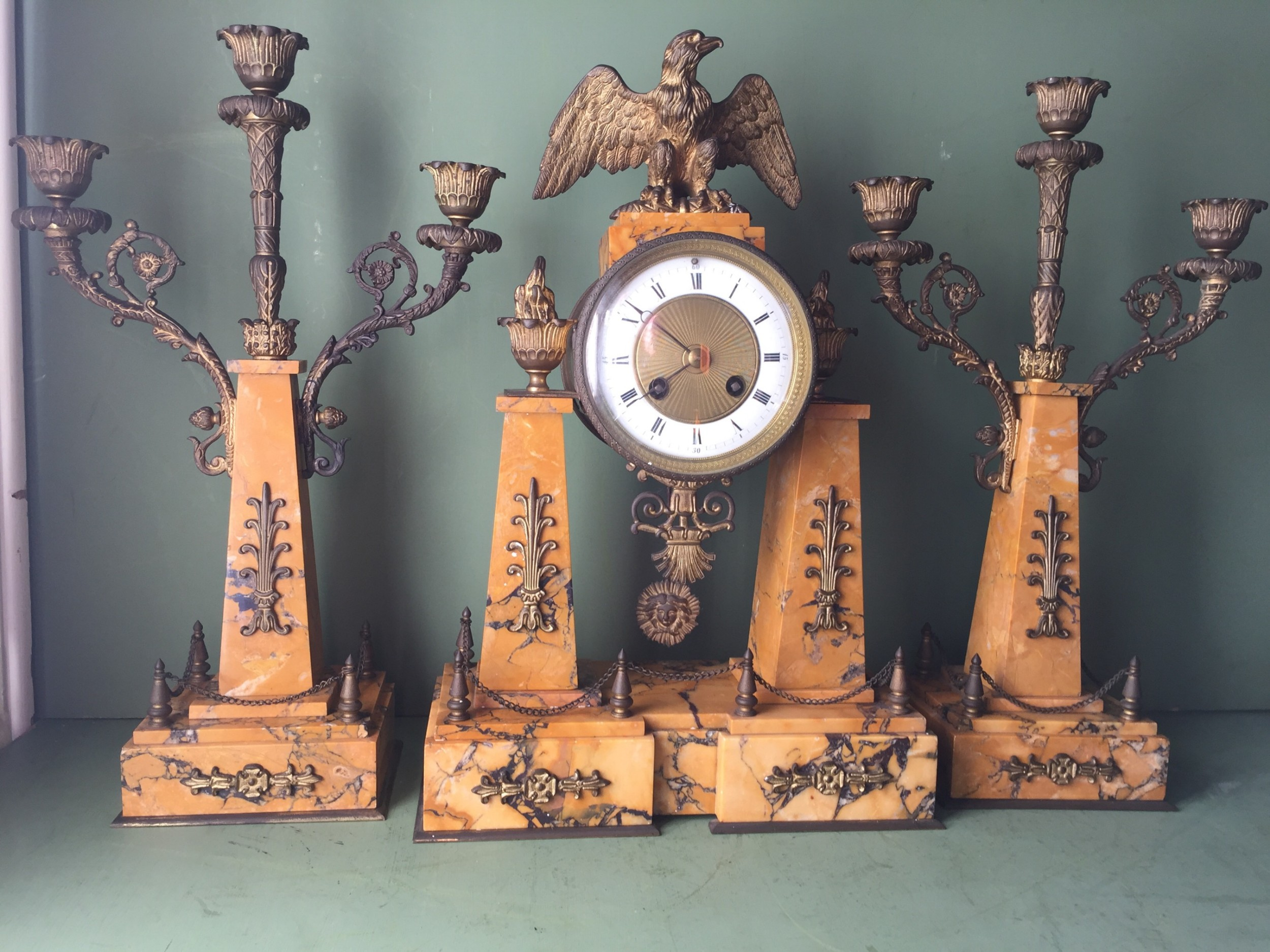 late c19th french napoleon iii period empire style siena marble and ormolu clock garniture