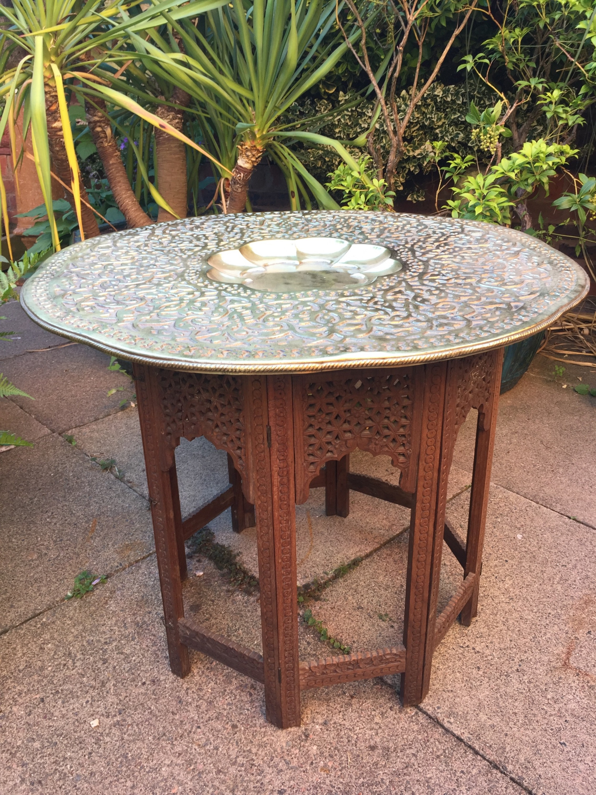 late c19th indian octagonal carved teak or 'shisham' table with castbrass top