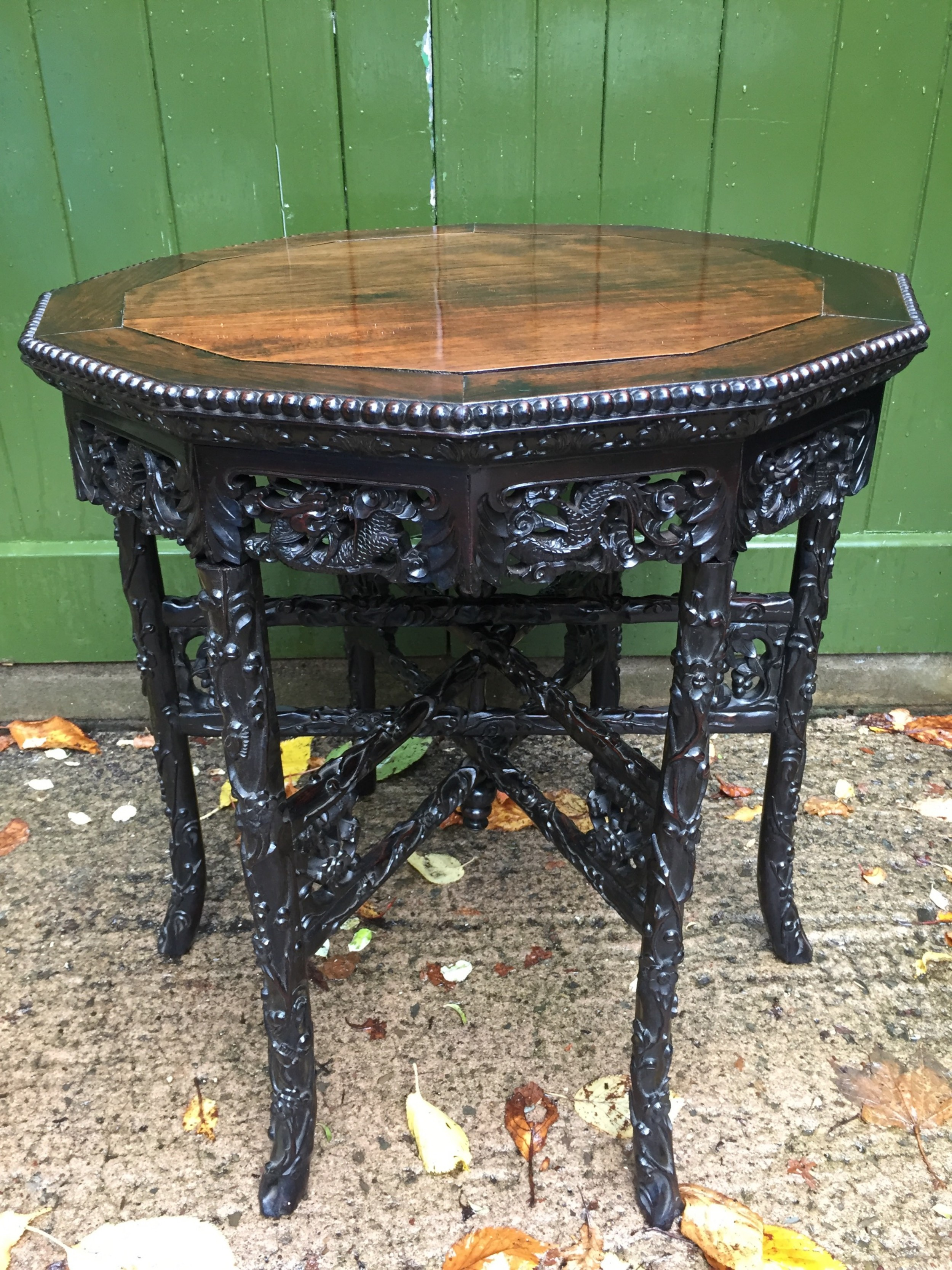 superb quality late c19th chinese qing dynasty carved hardwood occasional table on folding base