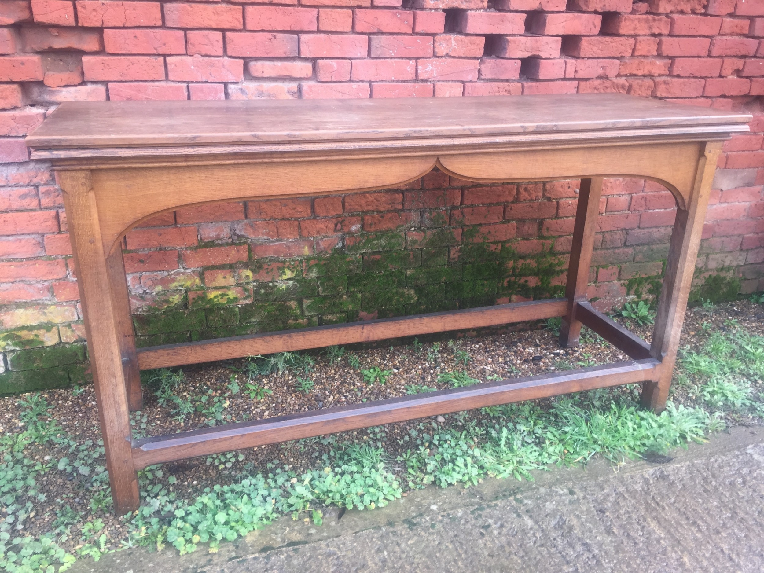 late c19th early c20th oak serving or hall table of reformed gothic style in the manner of awn pugin