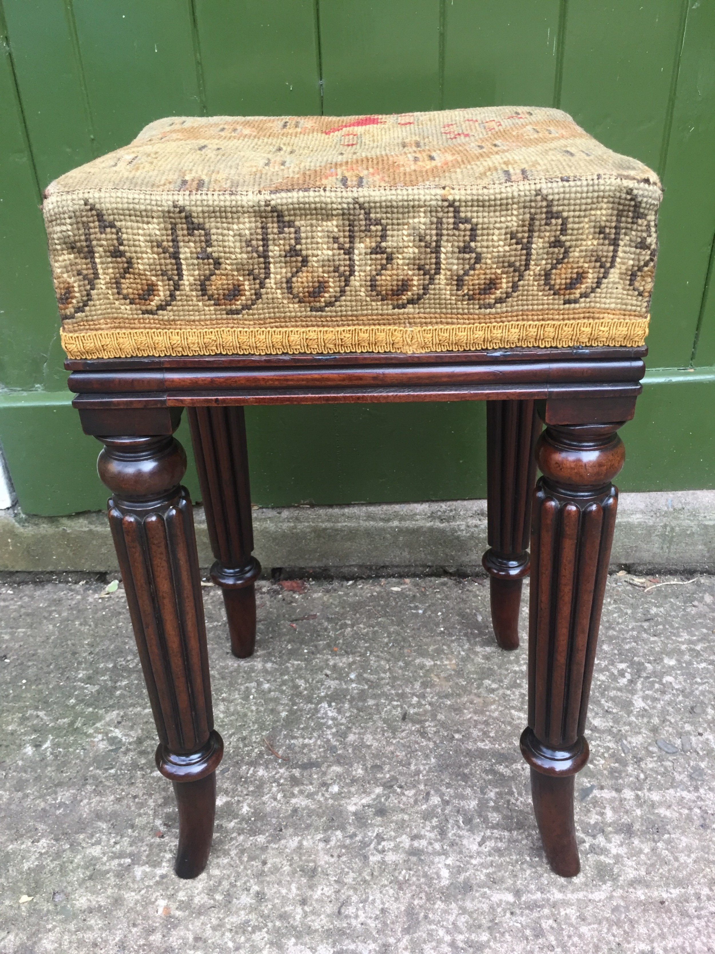 early c19th george iv period mahogany framed dressing stool in the manner of gillows of lancaster
