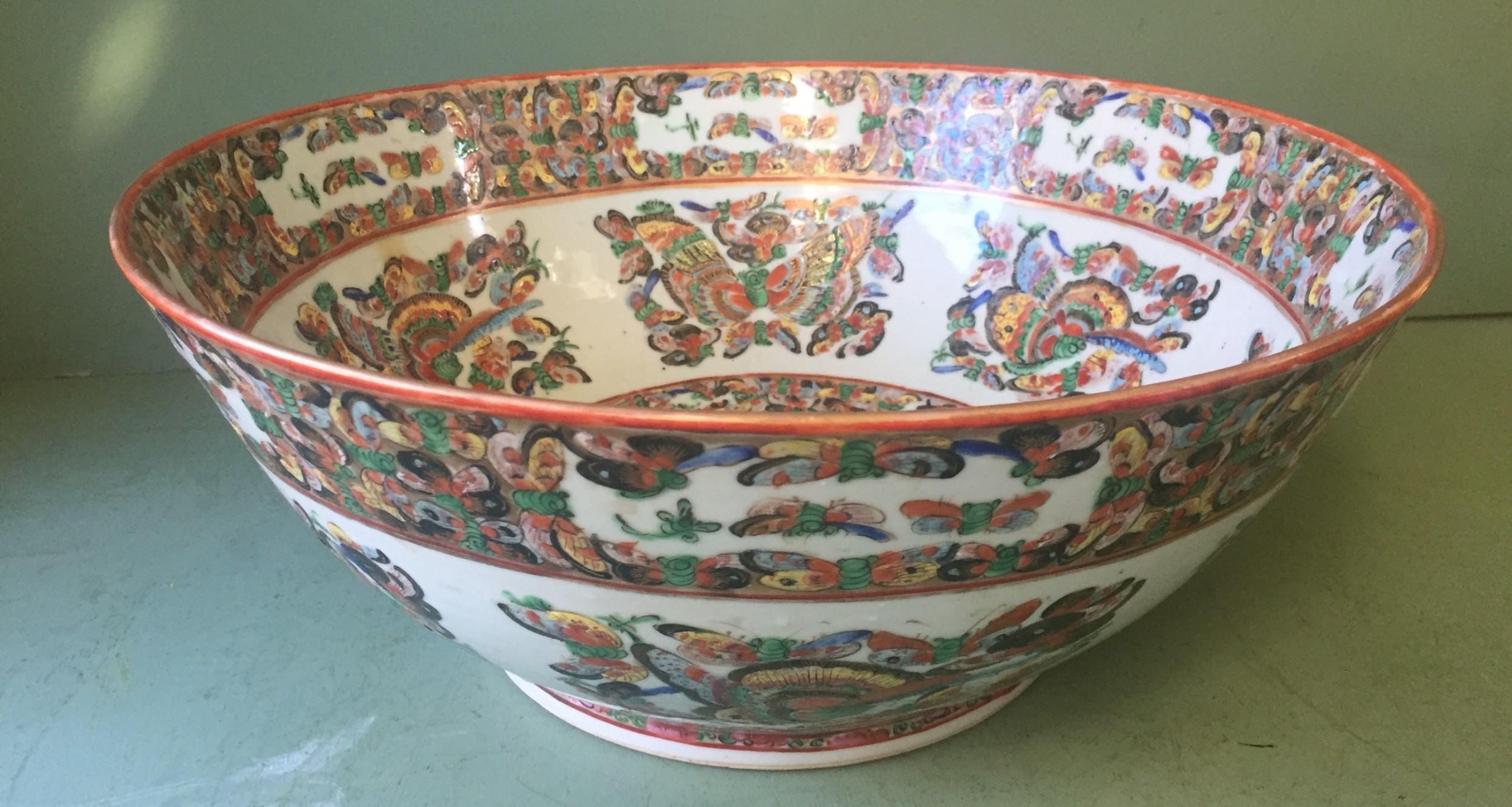 fine quality c19th chinese cantonese export porcelain enamel decorated punch bowl of good large scale with unusual butterfly designs