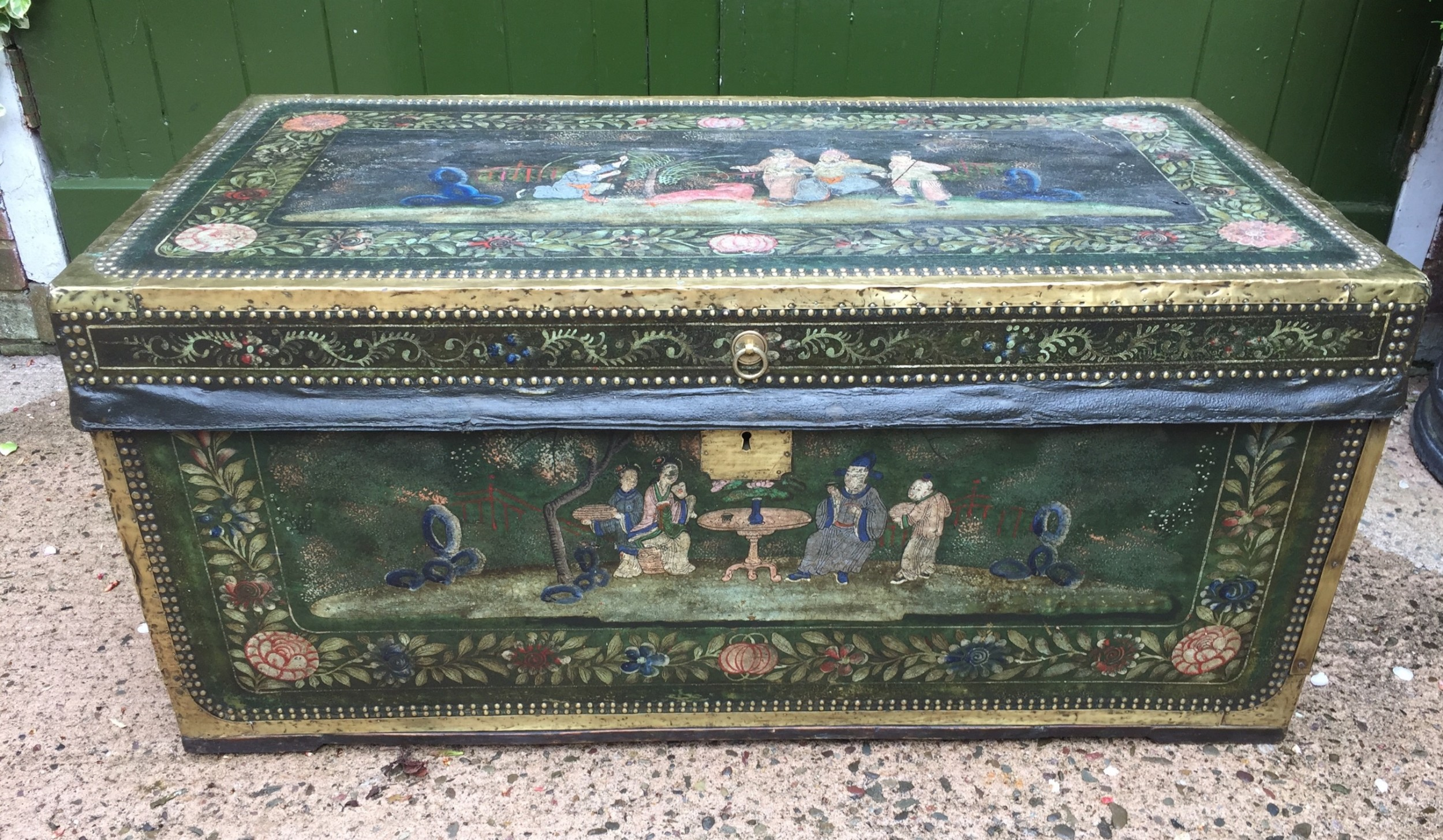 fine c19th chinese export decorated leather and brassbound camphor trunk