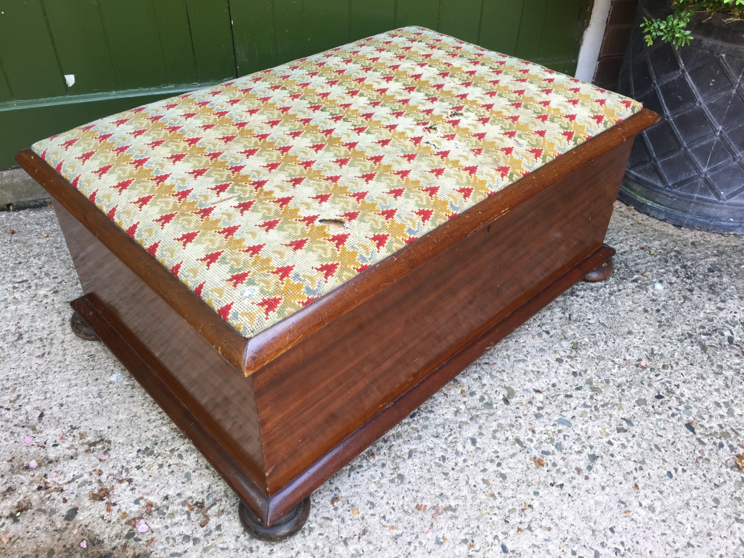 large mid c19th mahogany framed ottoman with original 'grospoint' needlework top