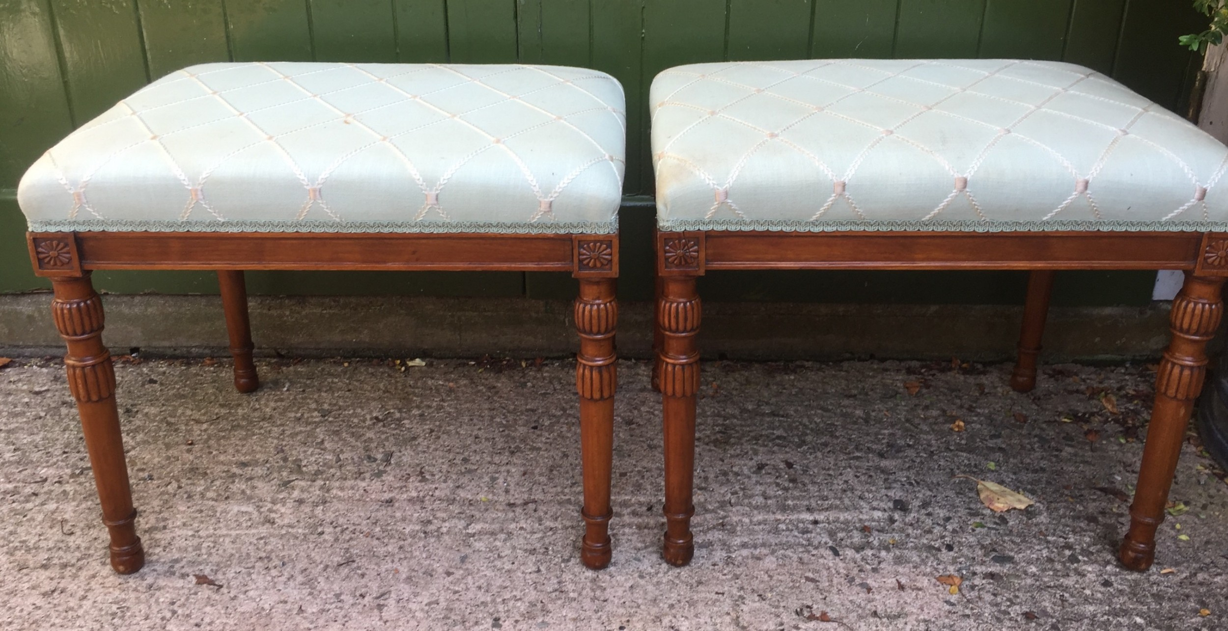 pair of late c19th early c20th edwardian period sheratonrevival carved satinwood frame stools
