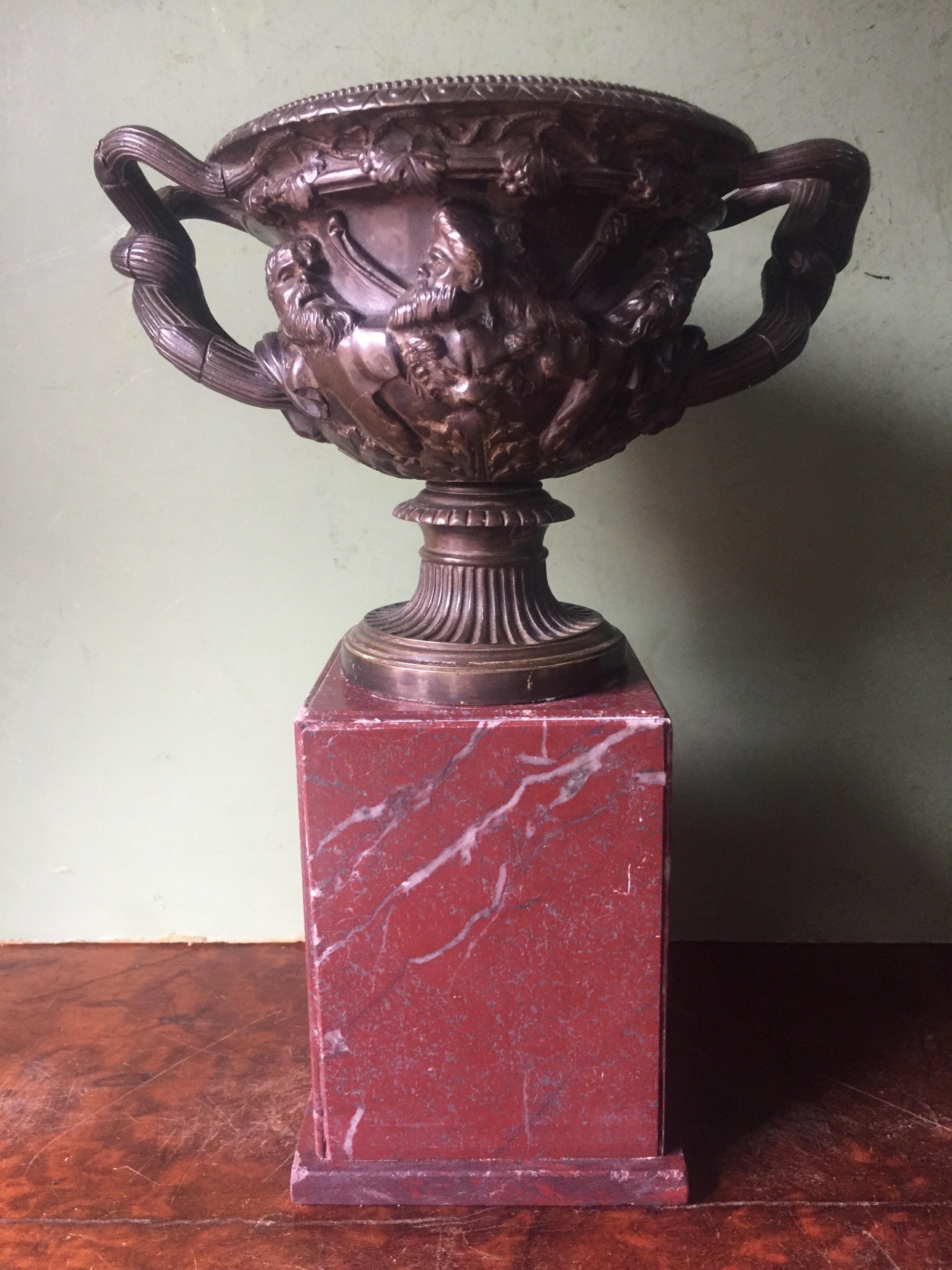 c19th bronze 'grand tour' souvenir bronze reduction after the antique of the warwick vase