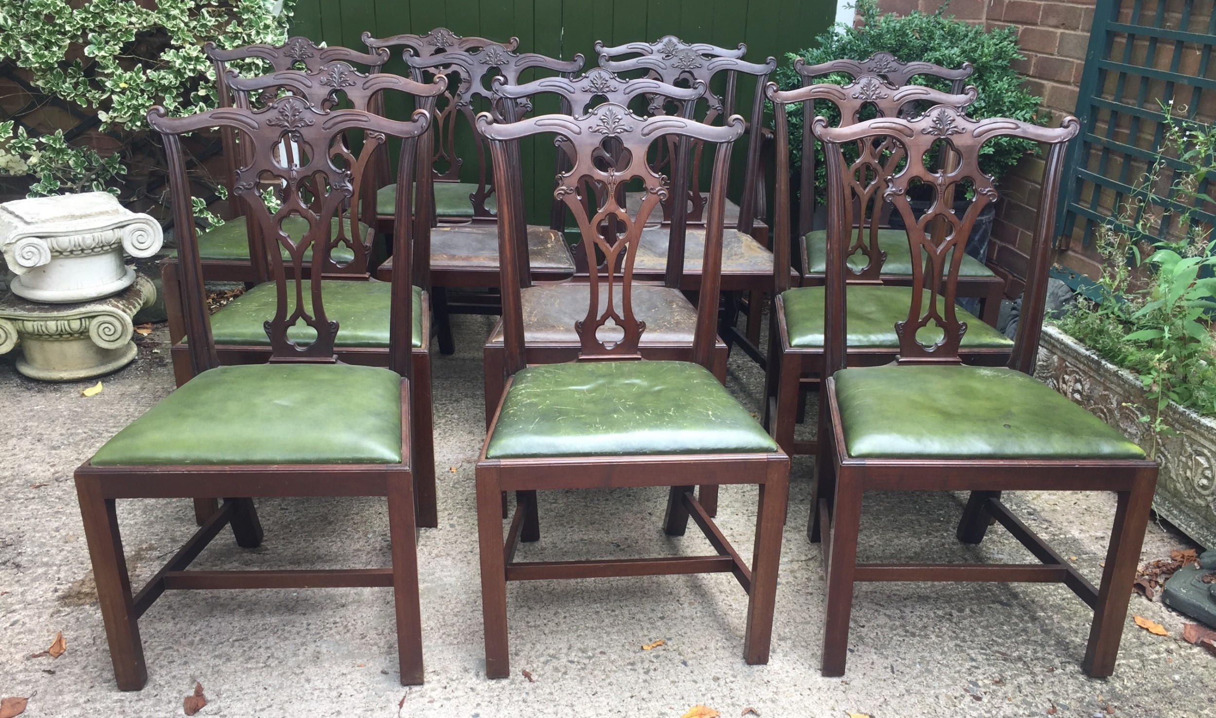 set of 12 late c19th chippendale revival carved mahogany dining chairs