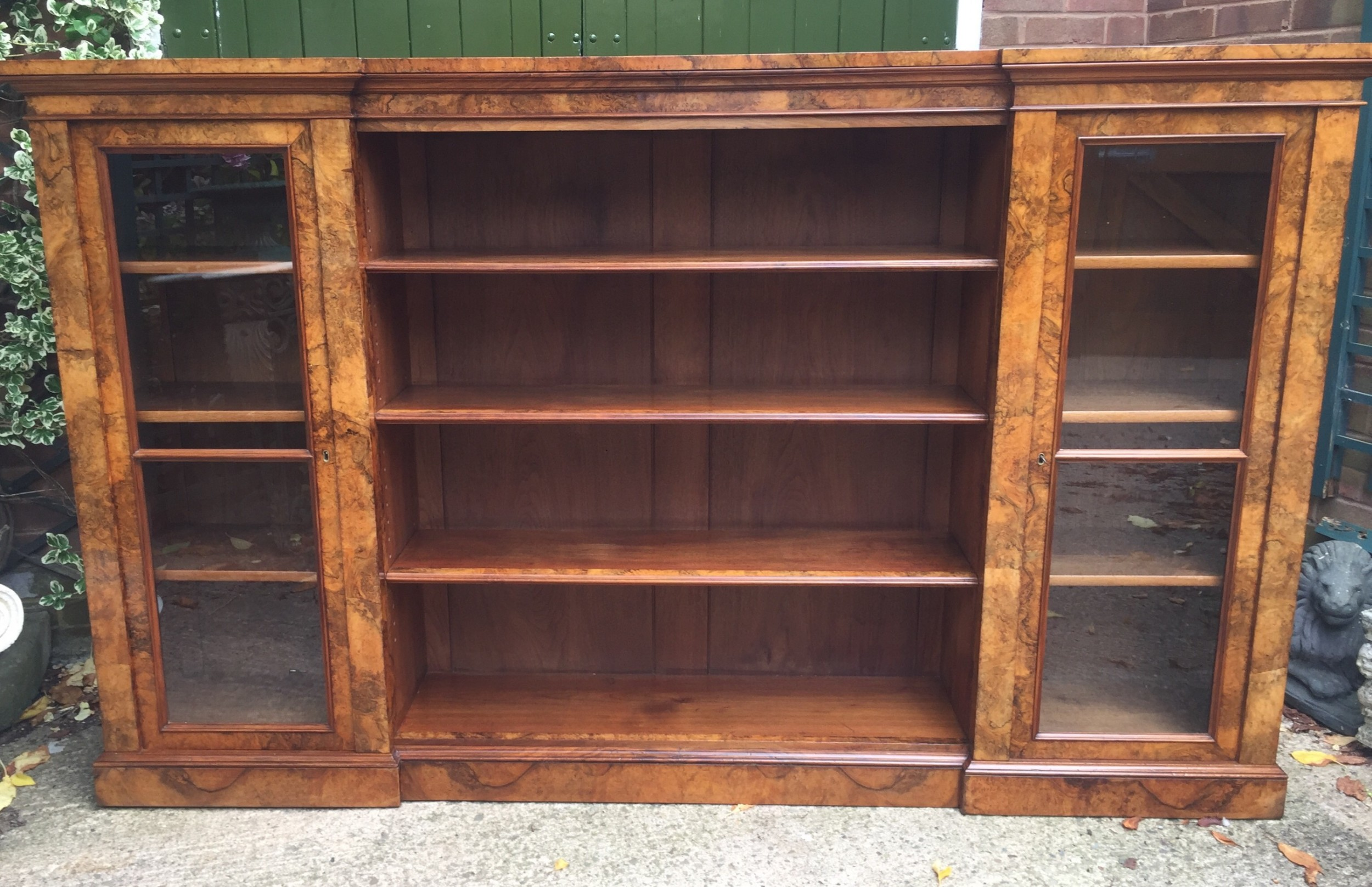 superb quality mid c19th burr walnut bookcase cabinet by gillows of lancaster