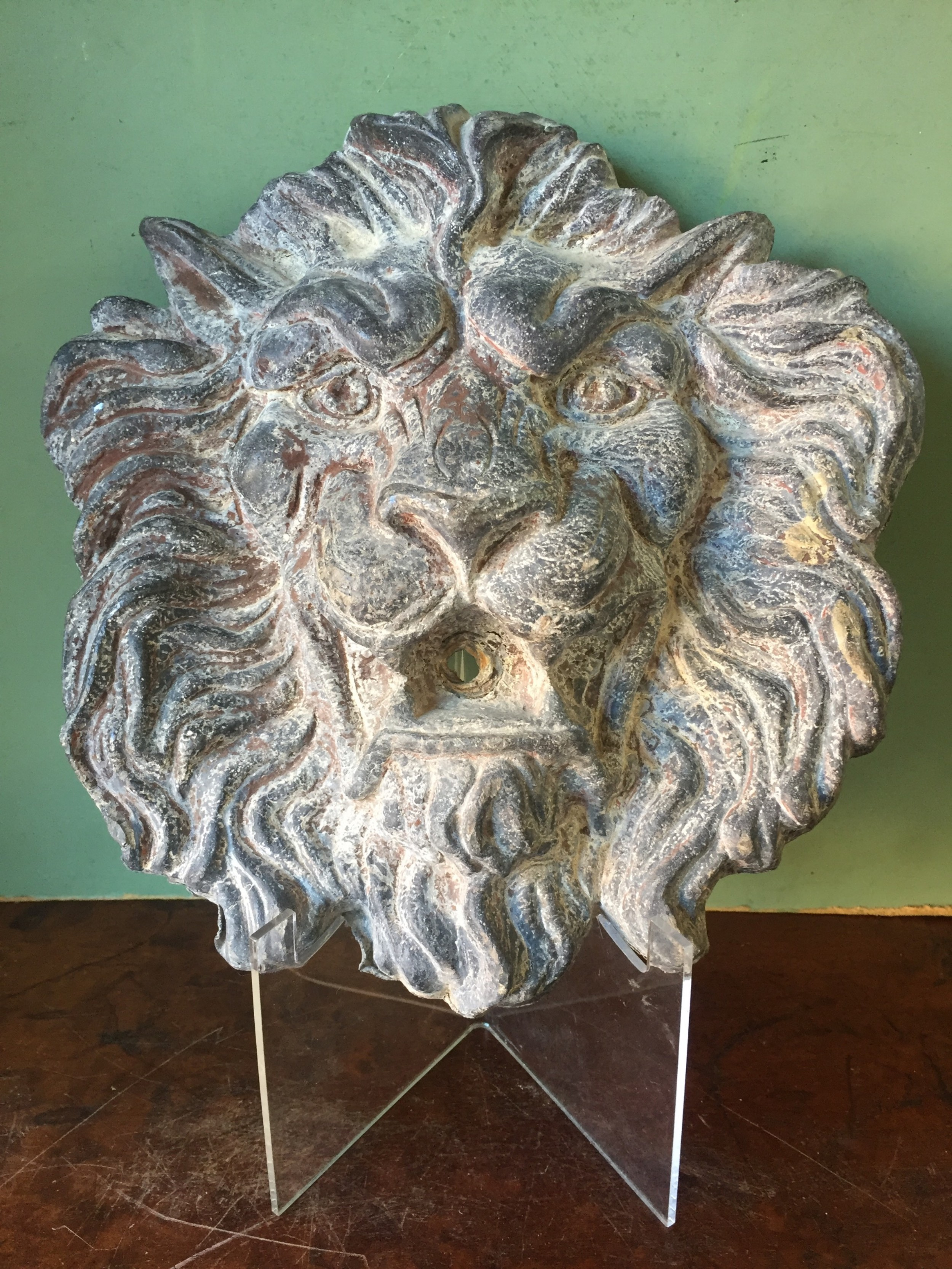 well cast and patinated mid c19th lead lion'smask wallfountain head